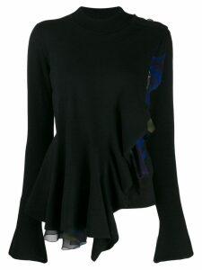 Roberto Cavalli draped asymmetric long-sleeved top - Black