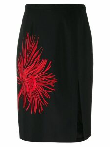Nº21 embroidered print A-line skirt - Black