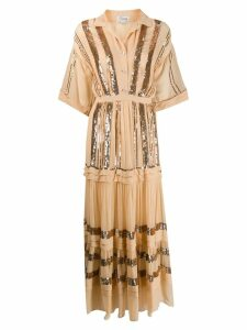 Temperley London sequined crepe maxi dress - NEUTRALS