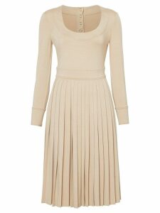 Burberry long sleeve pleated dress - Neutrals