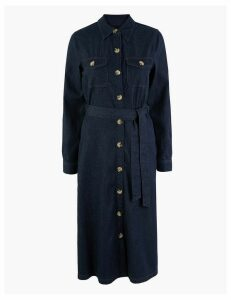 M&S Collection Denim Button Detailed Waisted Dress