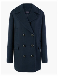 M&S Collection Double Breasted Peacoat with Wool