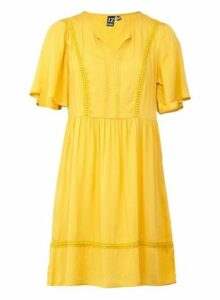 Womens *Izabel London Yellow Embroidered Trim Dress- Yellow, Yellow