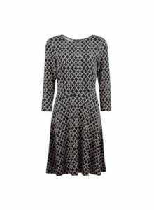 Womens Teal Geometric Print 3/4 Sleeve Fit And Flare Dress- Green, Green