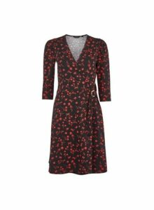Womens Red Floral Print Buckle Wrap Dress, Red