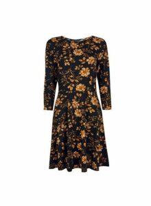Womens Black Floral 3/4 Sleeve Fit And Flare Dress- Black, Black