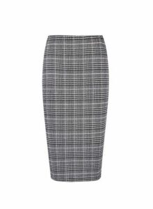 Womens Checked Pull On Pencil Skirt- Pink, Pink