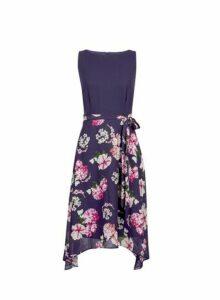 Womens **Billie & Blossom Petite Navy Floral Print Midi Dress- Blue, Blue