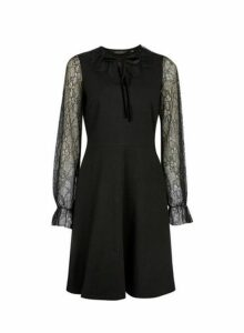 Womens Black Lace Detail Fit And Flare Cotton Blend Dress, Black
