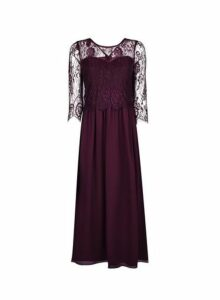 Womens **Showcase Petite Mulberry Lace Long Sleeve Bodice Maxi Dress- Red, Red