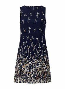 Womens *Izabel London Navy Botanical Shift Dress- Blue, Blue