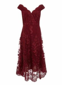 Womens *Quiz Wine Lace Embroidered Dress- Red, Red