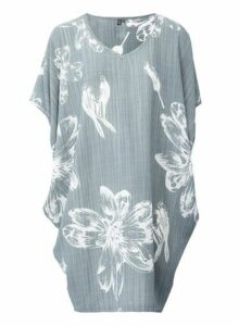 Womens *Izabel London Grey Floral Print Smock Dress- Grey, Grey