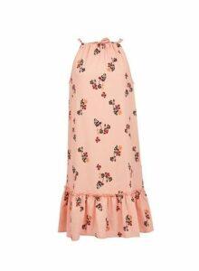 Womens **Vero Moda Coral Floral Print Sleeveless Midi Dress- Coral, Coral