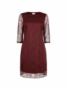 Womens **Vila Mulberry Lace Shift Dress- Red, Red
