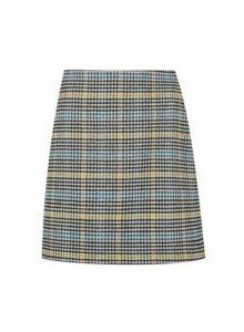 Womens Petite Multi Check Print Wool Look Skirt- Blue, Blue