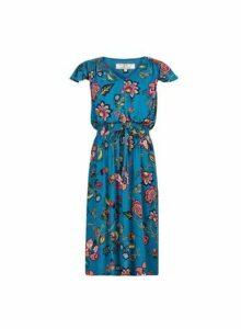 Womens **Billie & Blossom Teal Floral Print V-Neck Skater Dress- Blue, Blue