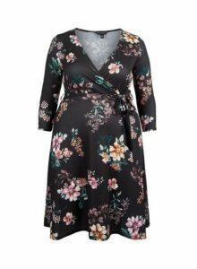 Womens **Dp Curve Black Floral Print Wrap Jersey Dress- Black, Black