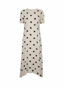 Womens White Spot Print Puff Sleeve Tea Midi Dress- Cream, Cream