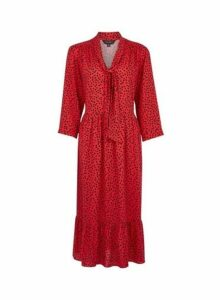 Womens Red Pussy Bow Smock Midi Dress, Red