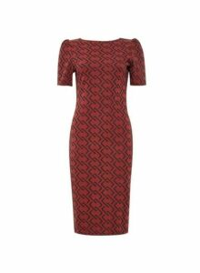 Womens Burgundy Jacquard Ruched Sleeve Bodycon Dress- Red, Red