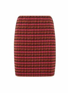 Womens Pink Check Print Mini Skirt- Pink, Pink