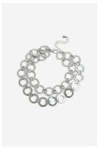 Womens **Circle Link Draped Anklet - Silver, Silver