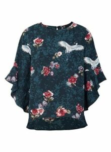Womens *Izabel London Dark Green Floral Print Blouse- Dark Green, Dark Green