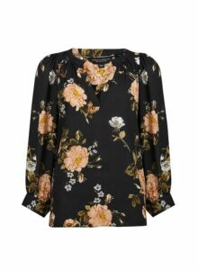 Womens Black Floral Print Balloon Sleeve Top- Black, Black