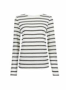 Womens Ivory Jaquard Lace Stripe Top- Ivory, Ivory