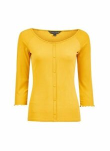 Womens Yellow Button Through Rib Top- Orange, Orange