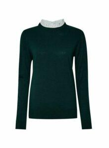 Womens Green Pierust Collar 2-In-1 Jumper- Green, Green