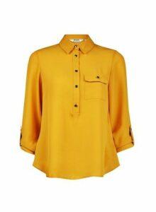 Womens Petite Yellow Roll Sleeve Shirt- Yellow, Yellow