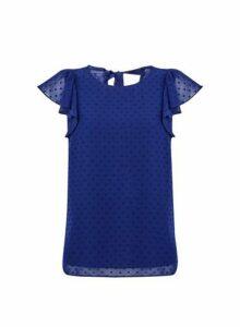 Womens Blue Dobby Ruffle Spot T-Shirt- Blue, Blue