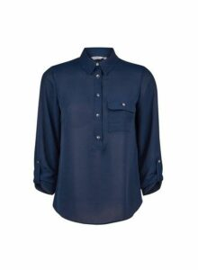 Womens Petite Navy Roll Sleeve Shirt- Blue, Blue