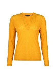Womens Yellow Nehru Collar Top- Orange, Orange