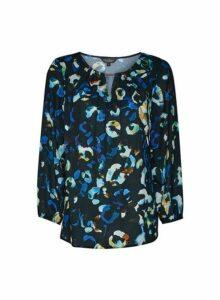 Womens **Billie & Blossom Cobalt Leopard Print Top- Blue, Blue