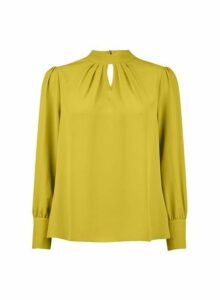 Womens Petite Lime 'Honey' Long Sleeve Top- Green, Green