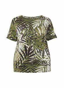 Womens **Dp Curve Green Tropical Print Utility Top- Multi Colour, Multi Colour