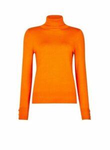 Womens Orange Button Cuff Roll Neck Jumper- Orange, Orange