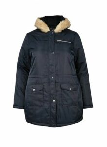 Womens **Dp Curve Navy Luxe Faux Fur Parka Coat- Blue, Blue