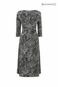 Womens Warehouse Black Abstract Crocodile Print Dress -  Black