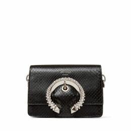 MADELINE SHOULDER /S Black Shiny Python Shoulder Bag with Crystal Buckle