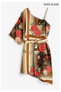 Womens River Island Brown Scarf One Shoulder Kimono Midi Swing Dress -  Brown