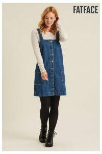 Womens FatFace Blue Sabrina Denim Pinafore Dress -  Blue