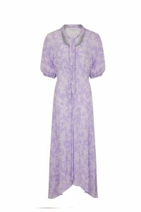 Womens Ghost London Purple Alma Lilian Floral Print Crepe Dress -  Purple