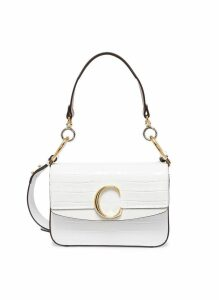 'Chloé C' small croc embossed leather double carry bag