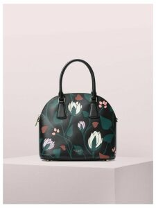 Sylvia Deco Bloom Large Dome Satchel - Black Multi - One Size