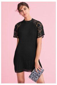 Womens Next Black Lace Insert Pleat Dress -  Black