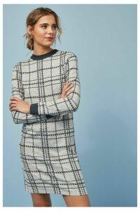Womens Next Grey Check Cosy Dress -  Cream